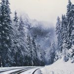Turn, winter, mountains, road, snowy, forest