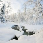 Snow winter river desktop wallpaper