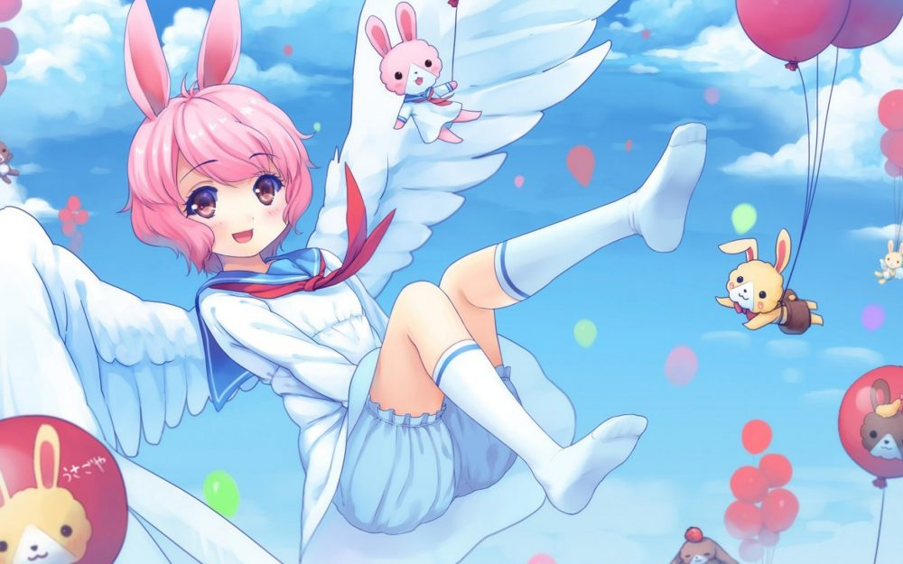 A girl in the sky, cute bunny, balloons, magic desktop wallpaper