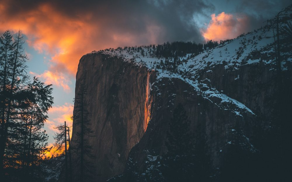 Clouds, cliff, snow, sunset, mountain