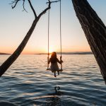 Sunset, swing, girl, lake