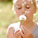 Girl, dandelion, face, flower