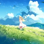 Girl glade wind dress wallpaper