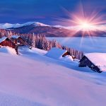 Snow winter mountain sun rays