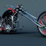 Red and black chopper, dirt bike