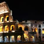 Beautiful night view of the ancient city of rome, italy wallpaper