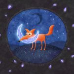 Fox, night, month, fireflies and the moon
