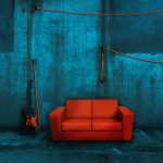 Wire, wall, sofa, guitar, room