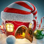 Christmas hat, hut, christmas trees, snowballs, wallpaper