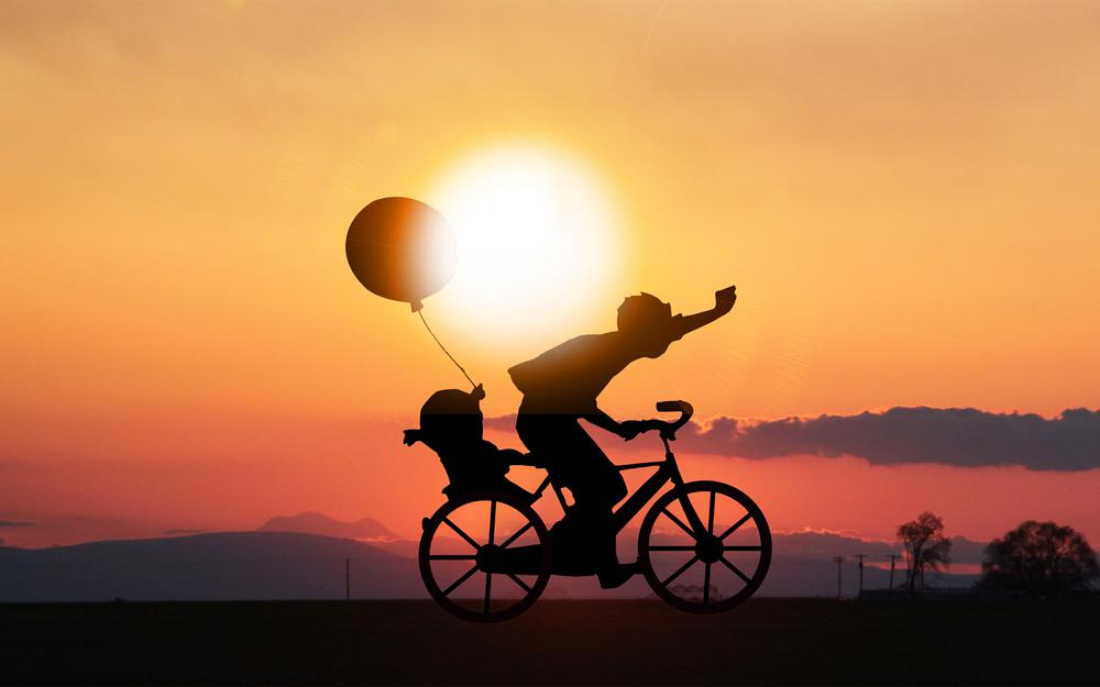 Father's day father's day cycling bike sunset twilight wallpaper