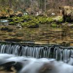 Forest stream beautiful waterfall landscape wallpaper