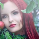 Girl with apple hd wallpaper