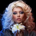 Blonde with a flower and neon hd wallpaper