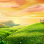 Meadow goat seductive landscape wallpaper