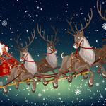 Winter snow, sleigh, deer, santa 2k wallpaper