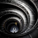 A spiral staircase view from above desktop wallpaper