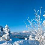 On top of the mountain in winter beautiful snow wallpaper