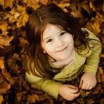 Lovely girl, autumn leaves, wallpaper