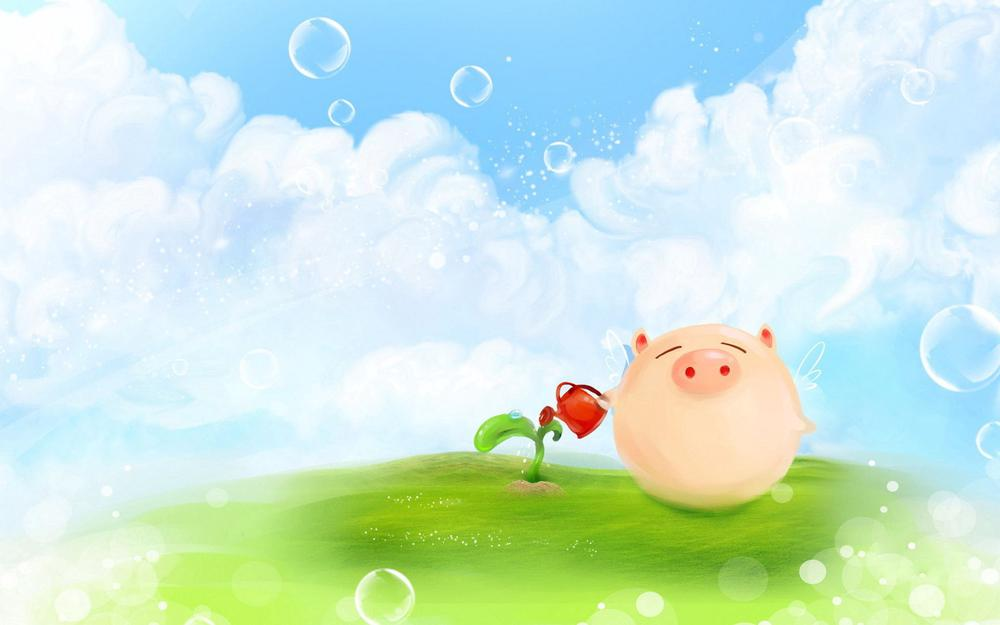 Watering can, clouds, grass, sprout, pig