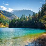 Bridges, national park, people, tourists, jiuzhaigou, china, autumn, clouds