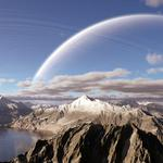 Clouds, mountains, planet, rings, lake