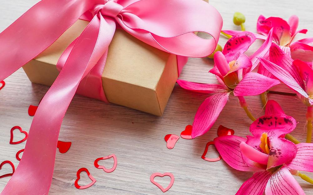 Ribbon, gift, hearts, flowers, sweet, valentine`s day, gift
