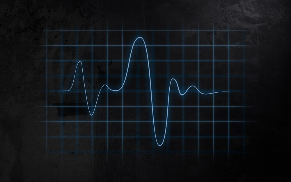 Cardiogram line oscilloscope, layout, background, fluctuations