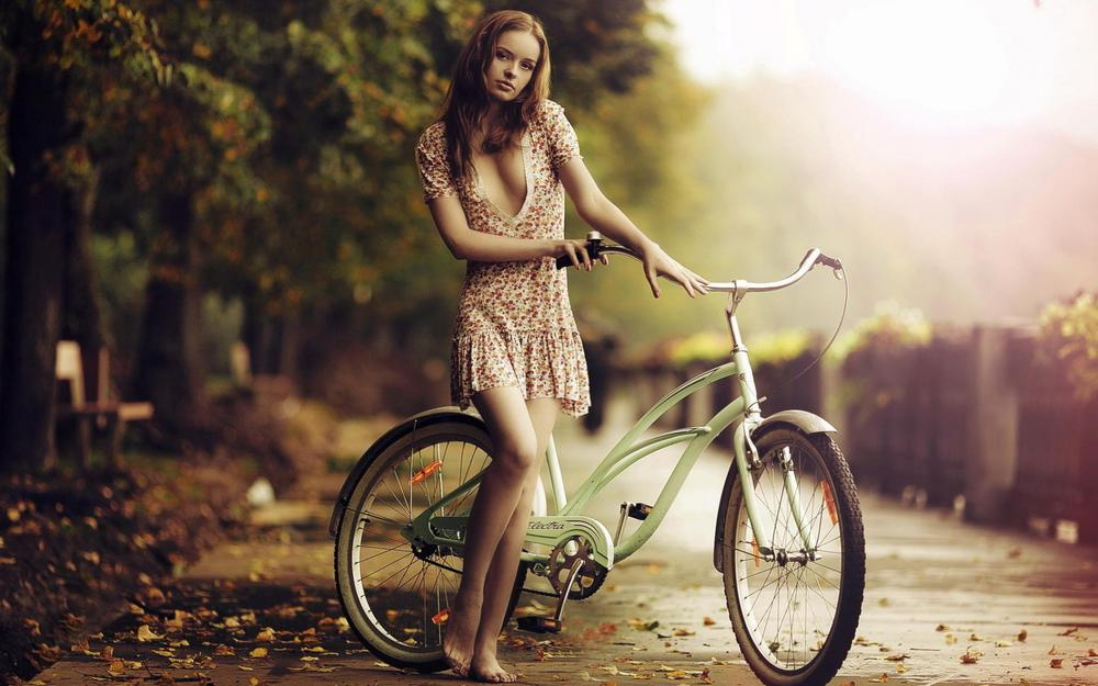 Girl, bike, barefoot, autumn desktop picture
