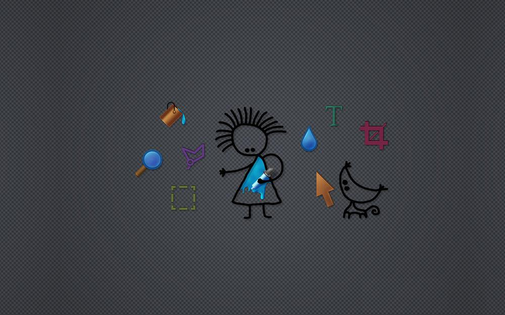 Gray background, screen, characters, hi-tech, mouse, icons, objects