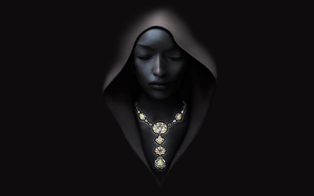 Dark, hooded, girl, hoodie, necklace