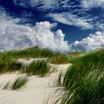Sand, dune, grass, clouds