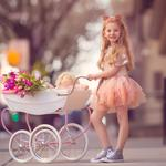 The little girl, street, stroller, cute doll, happy childhood wallpaper