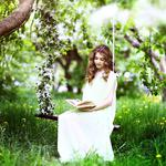 Nature, flowers, grass, trees, cute curly hair girl, swing, reading, spring pictures, wallpaper