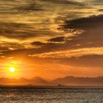 Sunset, clouds, mountains, boats, water, sea