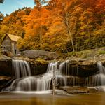 The, fall, waterfall, autumn, trees, house, waterfall