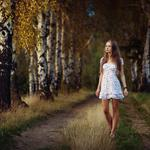 Girls, road, birch, autumn scenery wallpaper