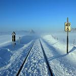 Leading to the distance rail hd snow wallpaper
