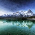 Forest, river, canada, sky, clouds, mountains, water