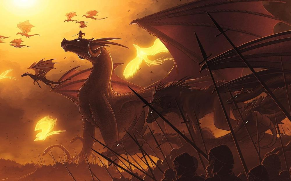 Flying, people, dragons