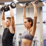 Gym, dumbbells, group, couple, workout