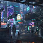 People, cyberpunk, neon advertising, neon, cyberpunk, alexander dudar, dudar, art, by alexander dudar, night, art, city, future