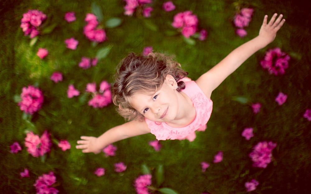 Children, girls, flying mood, looking at the rise, flowers, grass, computer wallpaper