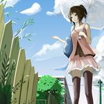 Girl, umbrella, streets, fences nice animation wallpaper