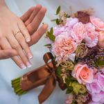 Flowers, roses, wedding, love, hand, rings, desktop wallpaper