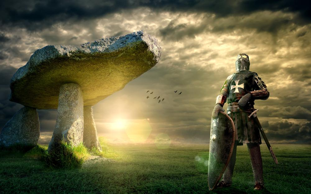 Knight, posture, space, clouds, clouds, megaliths, medieval, armor, light visor