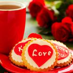 Holiday, love, cup, tea, flowers, bouquets, roses, biscuits, wallpaper
