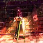 Makise red li habitat, girl, library, animation desktop wallpaper