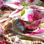 Lily, scarf, necklace, saucer