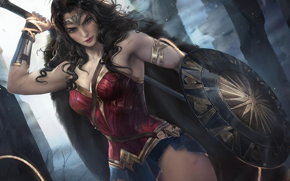 Wonder woman gaier jia hand-painted wallpaper and more