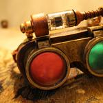 Lens, of steampunk, metal, lamps, glasses